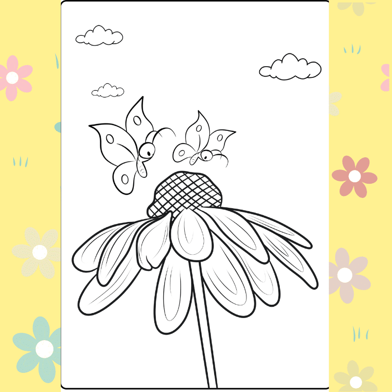 Butterflies and the Daisy Coloring Page