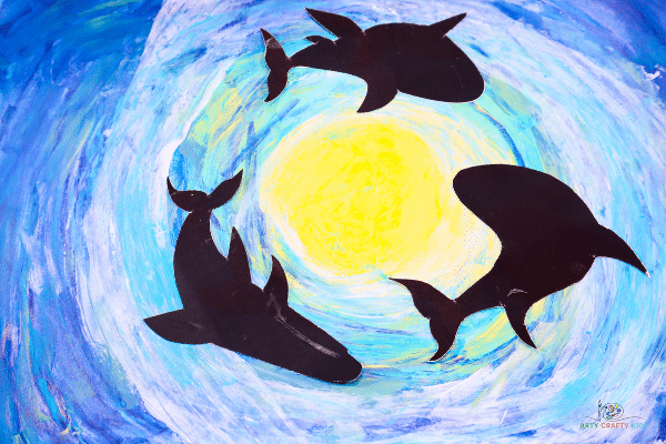 Explore the deep dark ocean with our Easy Shark Art project for kids and Printable Shark Silhouettes, using the scrape painting technique to create an under the sea background.
