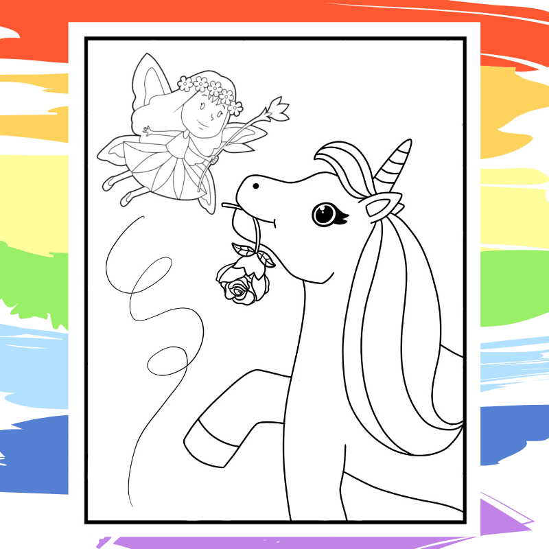 Unicorn and Fairy Coloring Page - part of a collection of 40 Unicorn Coloring Sheets.