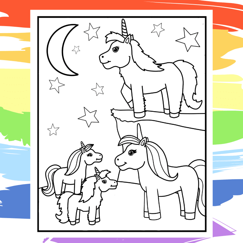 Family of Unicorns Under the Moon Coloring Page - part of a collection of 40 Unicorn Coloring Sheets.