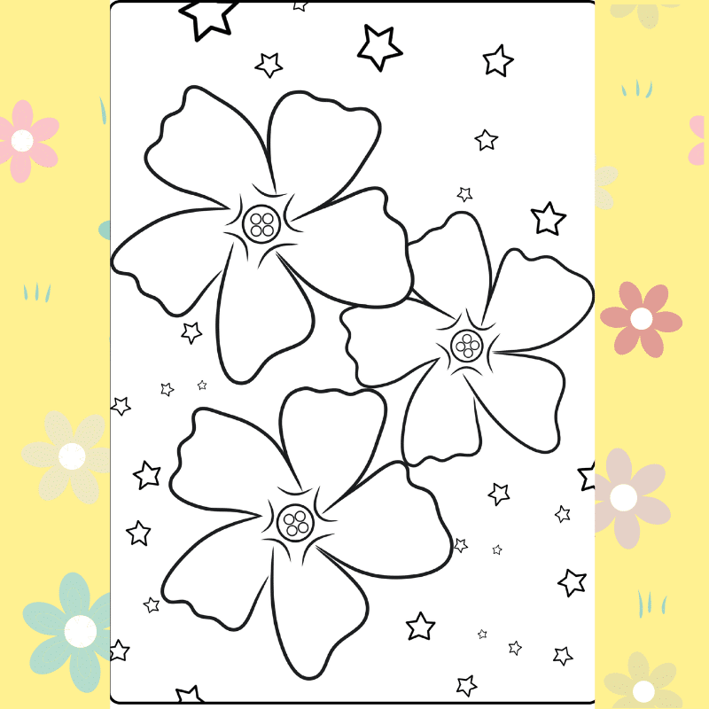 Flowers in the Stars coloring page