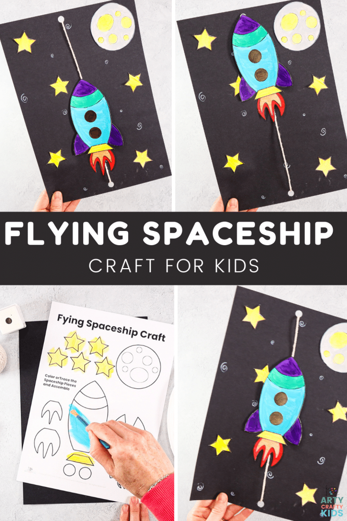 Blast off to the moon with our super fun and easy to make Flying Rocketship craft for kids! This space craft will capture the imaginations of kids' both big and small. With the introduction of a simple pulley system to create the impression of flight into space; children can craft, learn and play with their flying creations!