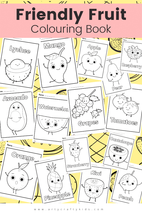 Children will apple-solutely love our Friendly Fruits Coloring Pages, featuring yummy cartoon styled fruit. Fun for coloring and learning about healthy eating!