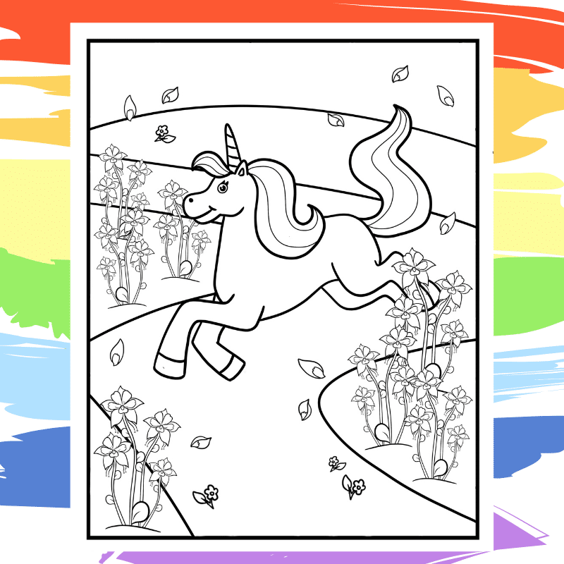 Galloping Unicorn Coloring Page - part of a collection of 40 Unicorn Coloring Sheets.