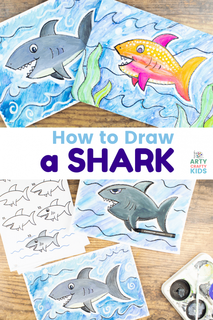 """Learn how to draw a shark with our fun and easy to follow """"Shark How to Draw"""" printable guide! Our how-to makes drawing sharks super simple and paired with the flow drawing technique, this friendly shark can be drawn in just a few easy steps."""