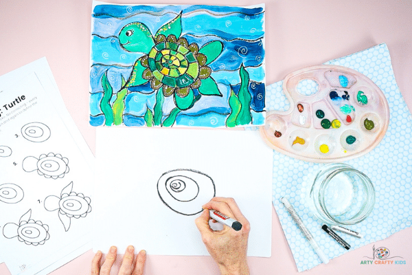Start the turtle with three ovals.