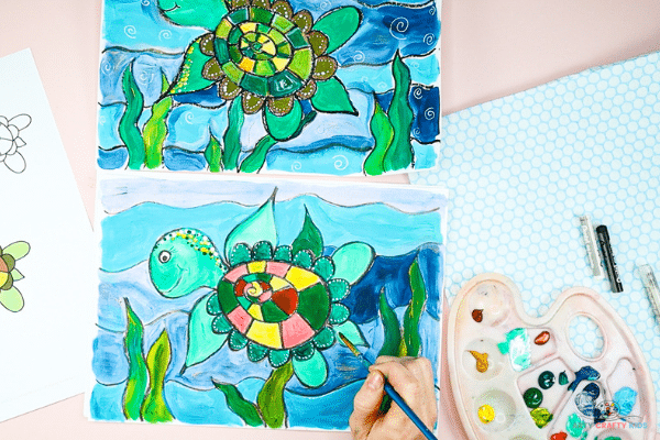 Try different painting techniques to complete the turtle. Pointillism is a great way to add texture and detail.