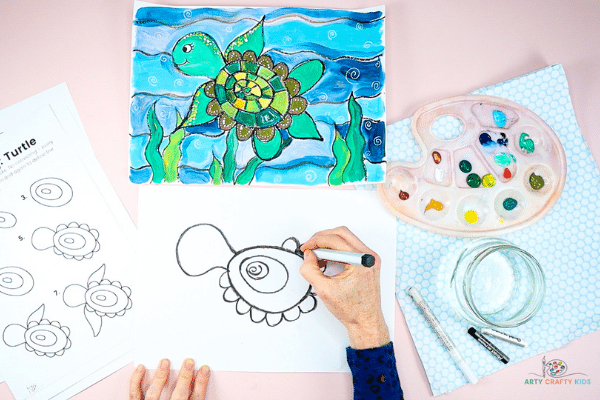 Draw a frill around the turtle's shell.