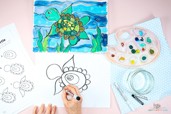 Draw flippers onto the turtle, starting with it's front set.
