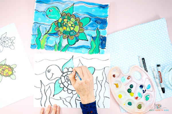 Paint the turtle and under the sea scene.