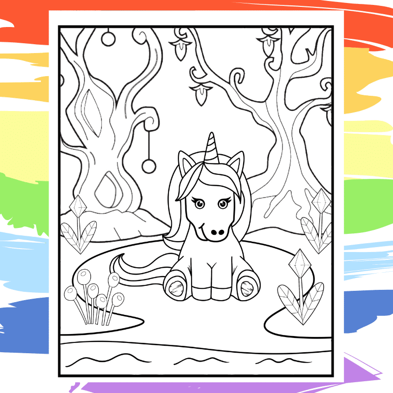 Infant Unicorn in Magical Forest Coloring Page - part of a collection of 40 Unicorn Coloring Sheets.