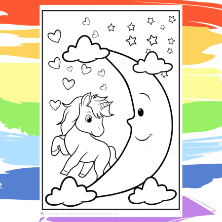 Moon Unicorn Coloring Page - part of a collection of 40 Unicorn Coloring Sheets.