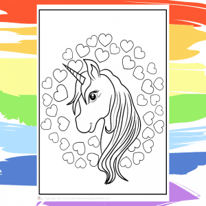 I Love Unicorns Coloring Page for Kids