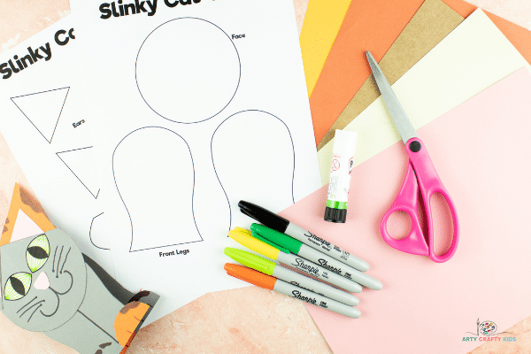 Image showing the slinky cat template and materials.