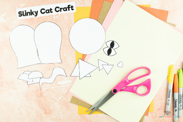 Image showing the cat elements of the template cat out and ready for tracing.