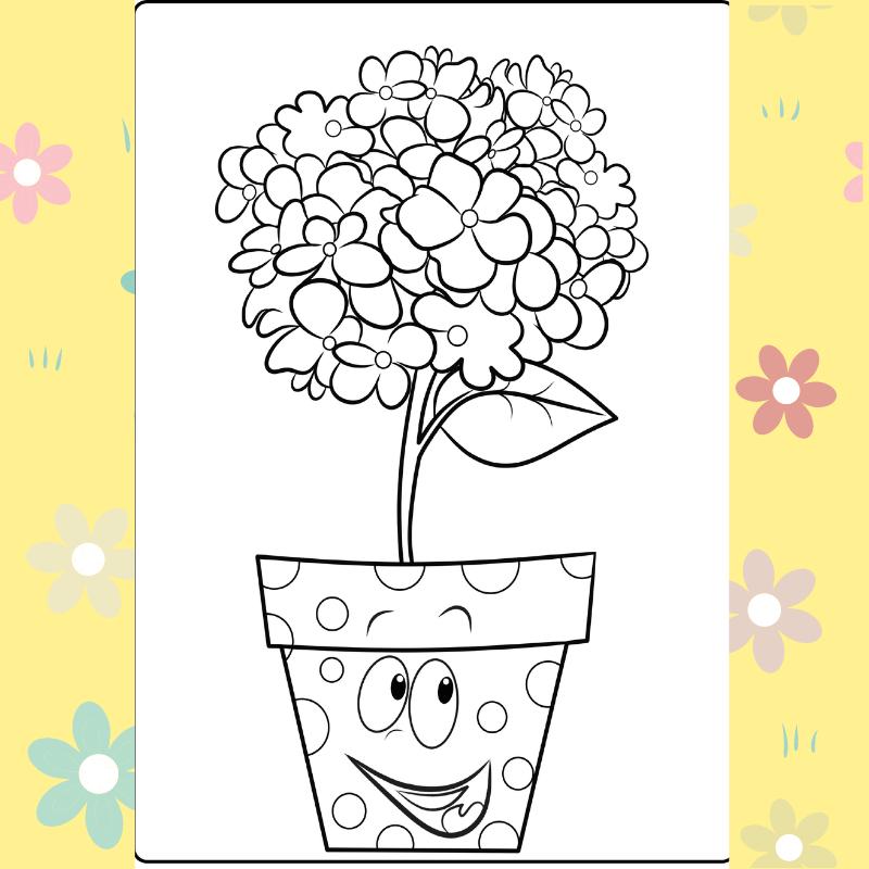 Spotty Flower Pot coloring page