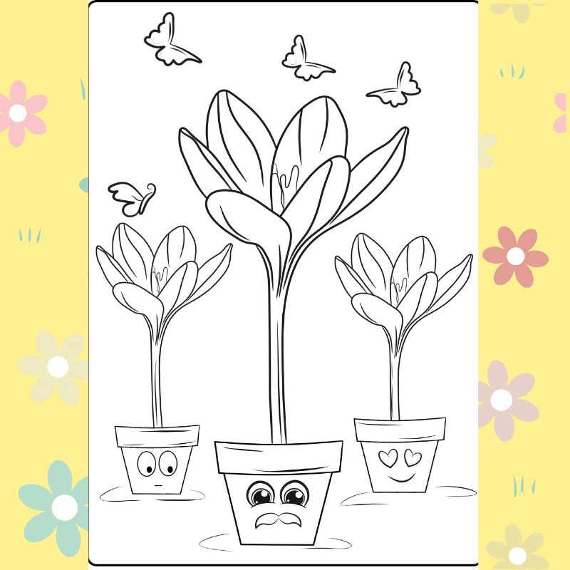 Trio of Flower Pots coloring page