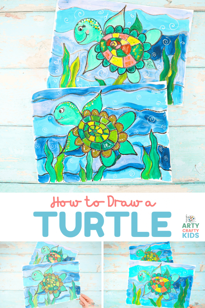 """Learn how to draw a turtle with our easy to follow step-by-step """"Turtle How to Draw"""" printable guide! Our how-to makes drawing a turtle super easy and coupled with the flow drawing technique, the sea turtle can be drawn in just a few simple steps."""