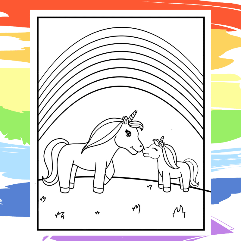 Under the Rainbow Unicorns - part of a collection of 40 Unicorn Coloring Sheets.