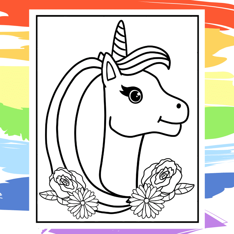 Flowery Maned Unicorn Coloring Page  - part of a collection of 40 Unicorn Coloring Sheets.