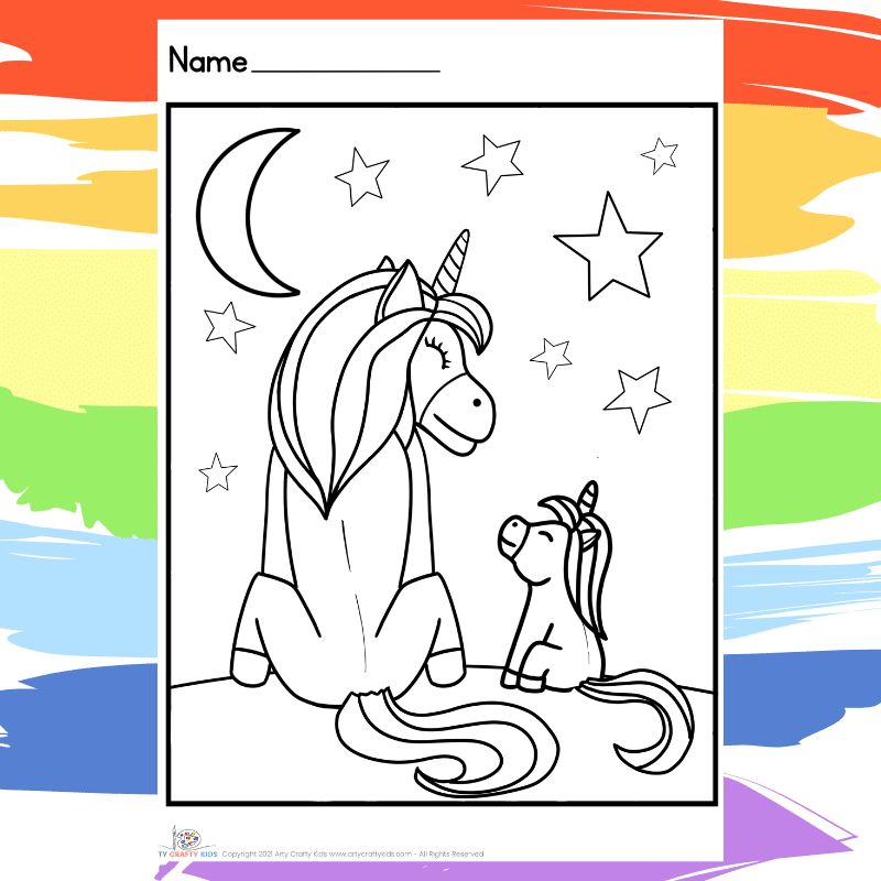 Watching the Stars Unicorns - part of a collection of 40 Unicorn Coloring Sheets.