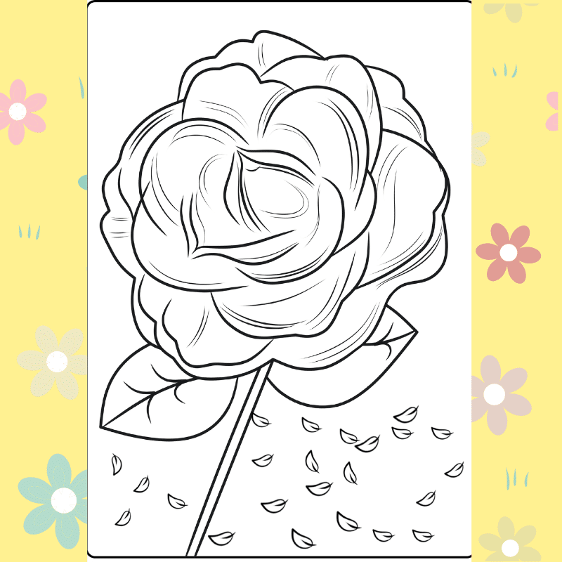 Whimsical Rose coloring page