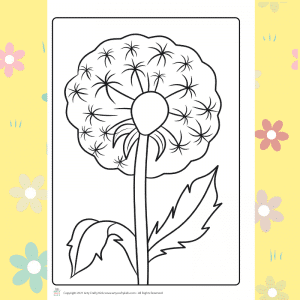 Dandelion clock flower coloring page