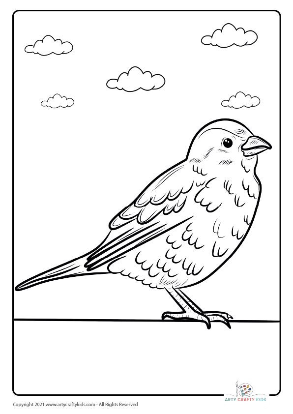 A bird on a wall coloring page featuring a small sparrow.