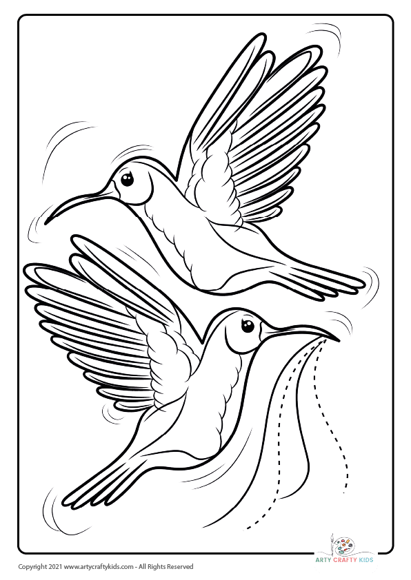 Birds in Flight Coloring Page, featuring a pair of humming birds.