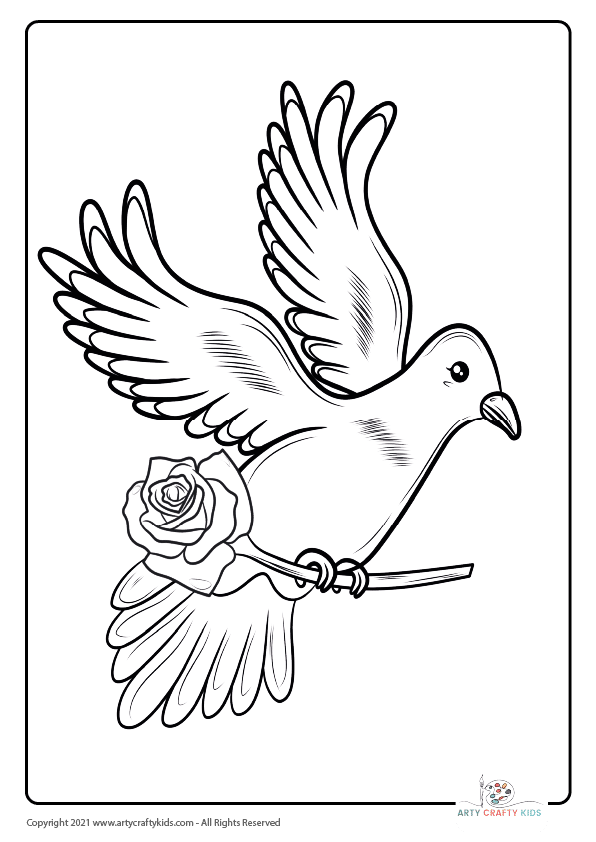 A flying dove coloring page. This bird coloring page features a dove carrying a rose.