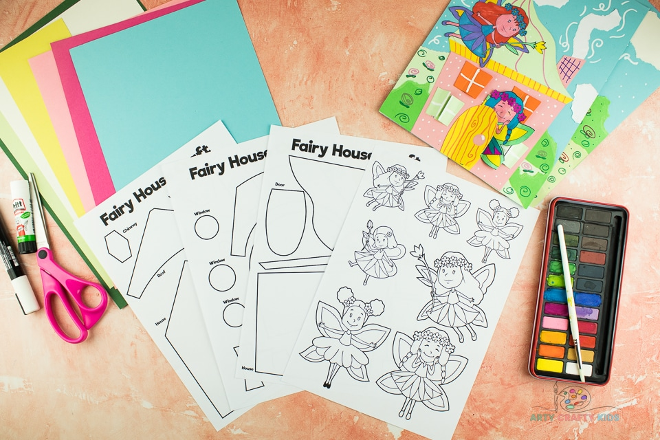 Image showing all materials and templates for the Fairy House Craft.