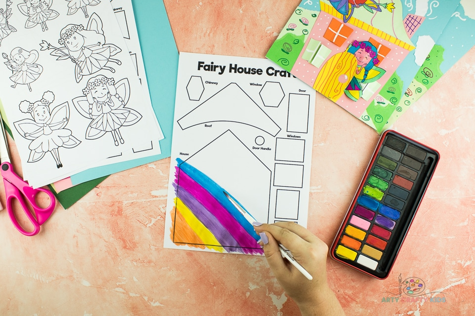 Image showing the house on the Fairy House template being painted.