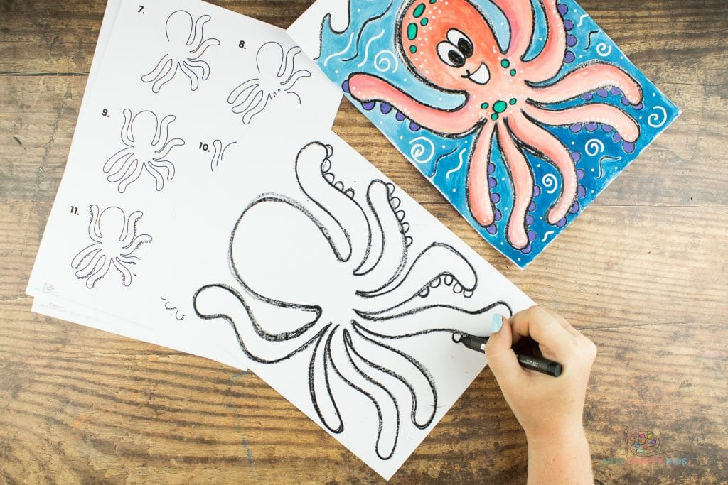 Image showing five semi circles being drawn on the underneath of each tentacle, on the right side of the Octopus.