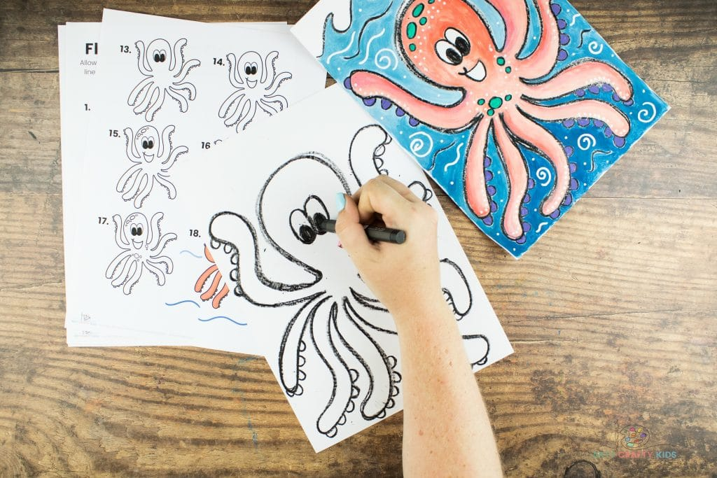 Image showing the Octopus' right eye being drawn, directly next to the left eye.