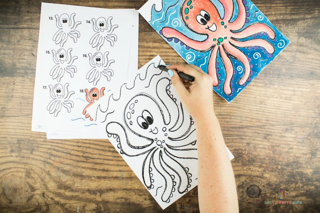 Image showing flowing waves being drawn at the top of the page to add an Under the Sea Background behind the Octopus.