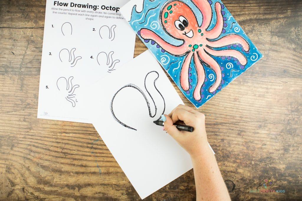 Image showing the octupus' first tenticle being drawn off the oval arch.
