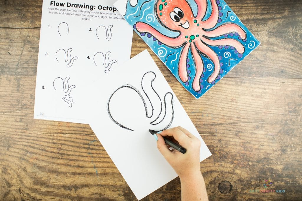 Image showing the octopus' second tentacle being drawn under the first.