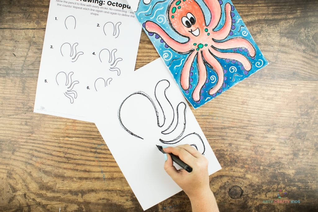 Image showing the octupus' third tentacle being drawn under the second arm.