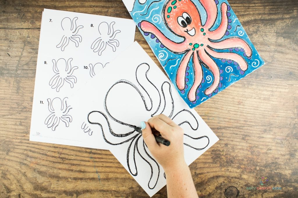 Image showing the eigth and final tentacle being drawn on the left side of the original oval arch. This image shows the completed outline of the octopus.