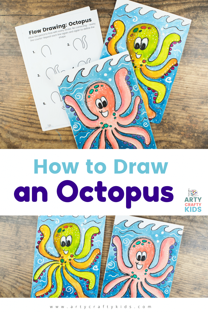 """Learn how to draw an octopus with our super simple and fun """"Octopus How to Draw"""" step-by step-guide! Our how-to makes drawing octopi easy and paired with the flow drawing technique, this happy octopus can be drawn in just a few simple steps."""