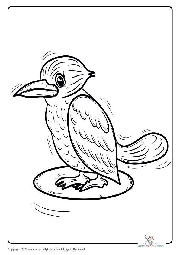 Bird Coloring Pages: From our bird coloring book, this page features a Kookaburra coloring page.