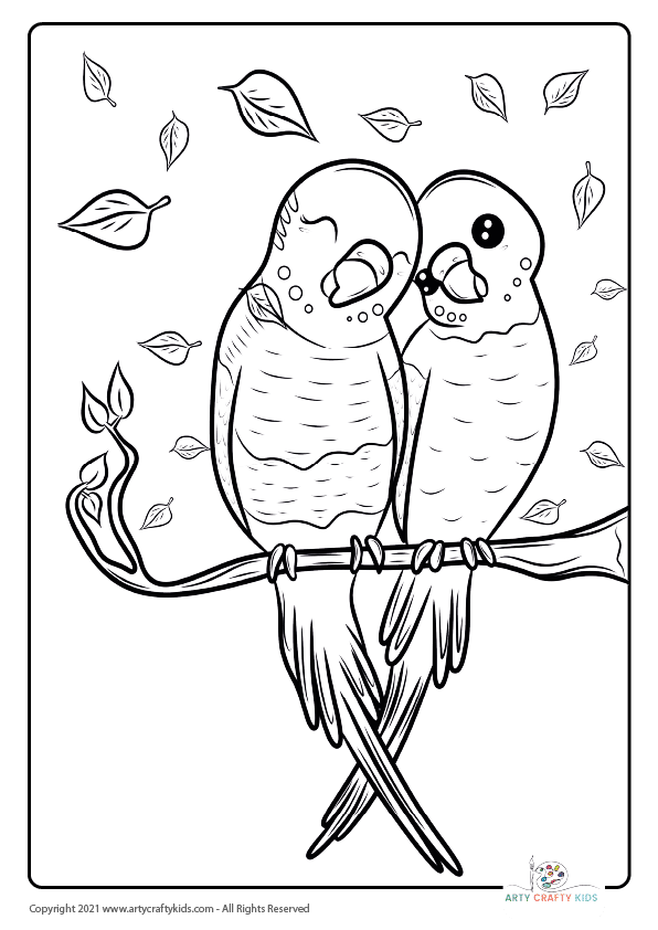 Bird Coloring Pages: From our bird coloring book, this page features a Love Bird coloring page.