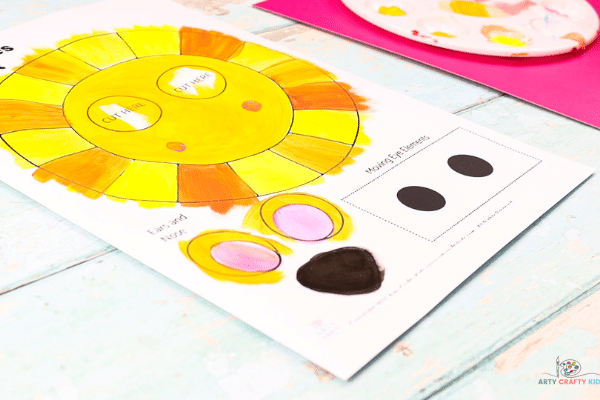 Image showing a completed painted template. Colors consist of different shades of yellow to terra cotta.