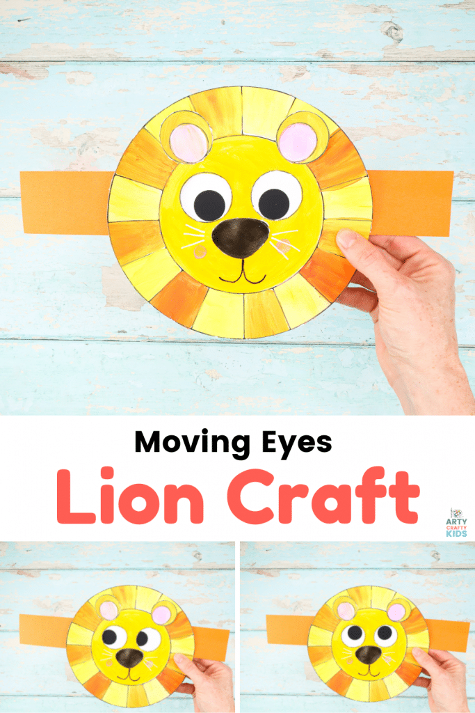 Fun and easy Moving Eyes Lion Craft for kids. This is lion craft can be paired with books, films or imaginative games to bring the character of the lion to life. Children to engage in pretend play and consider the emotions the rolling eyes convey.