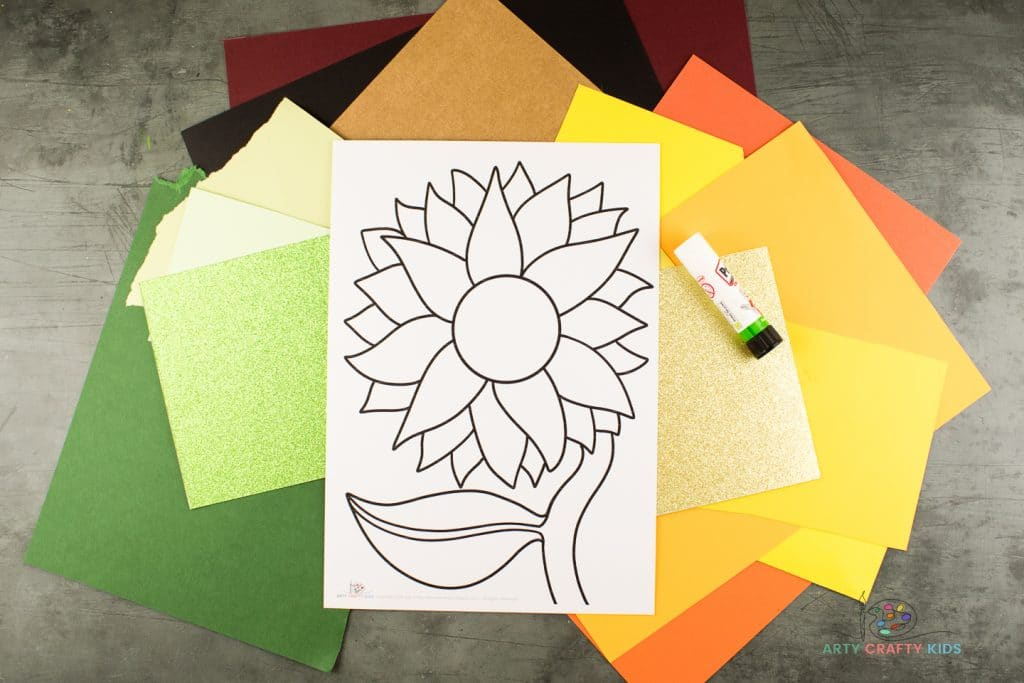 Image showing the printable sunflower template, and lots of different colored card.