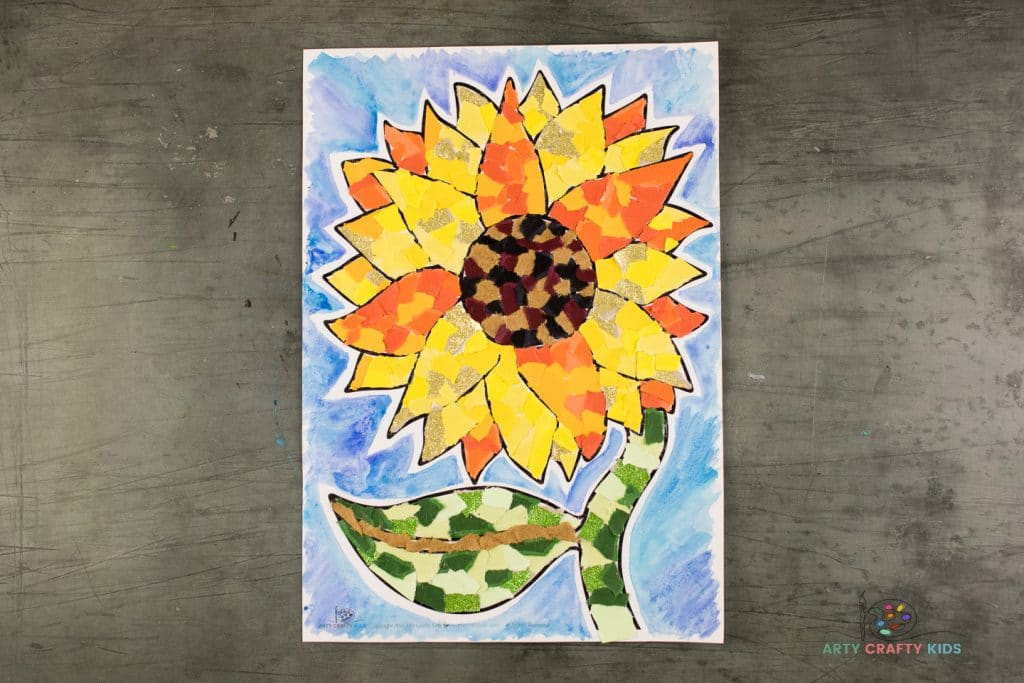 Make beautiful sunflower with torn paper and our printable sunflower template. This easy Paper Sunflower Collage Art idea is the perfect art project for kids both big and small.