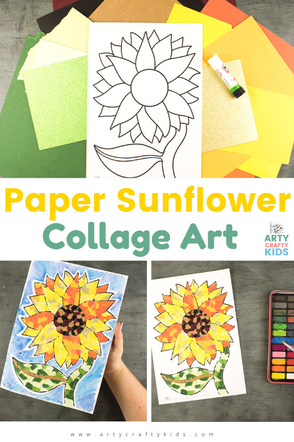 Paper Sunflower Collage Art: Use this fab template to create your own bright, bold sunflower collage, the perfect decor to brighten any room!