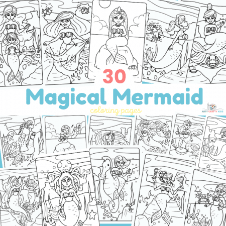 30 Magical Mermaid Coloring Pages - 30 Mermaid Coloring Sheets featuring an array of mermaids, ocean animals, merkids and more!
