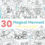 30 Mermaid Coloring Pages for kids. Print off this collection of 30 mermaid coloring sheets.