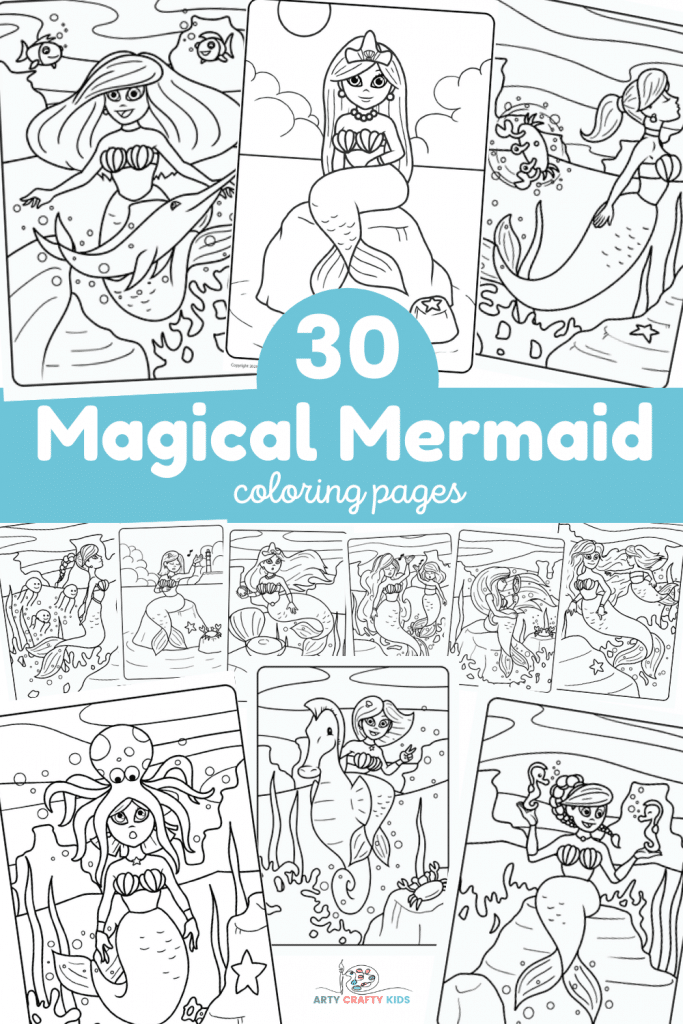Check out this magical collection of 30 Mermaid Coloring Page - Printable Coloring Sheets - 30 Page Mermaid Coloring Book